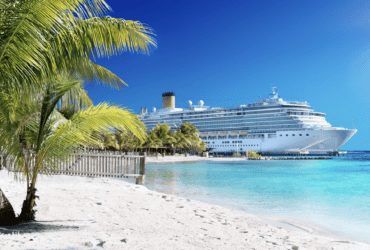 Cruise ship near beach/kids sail free