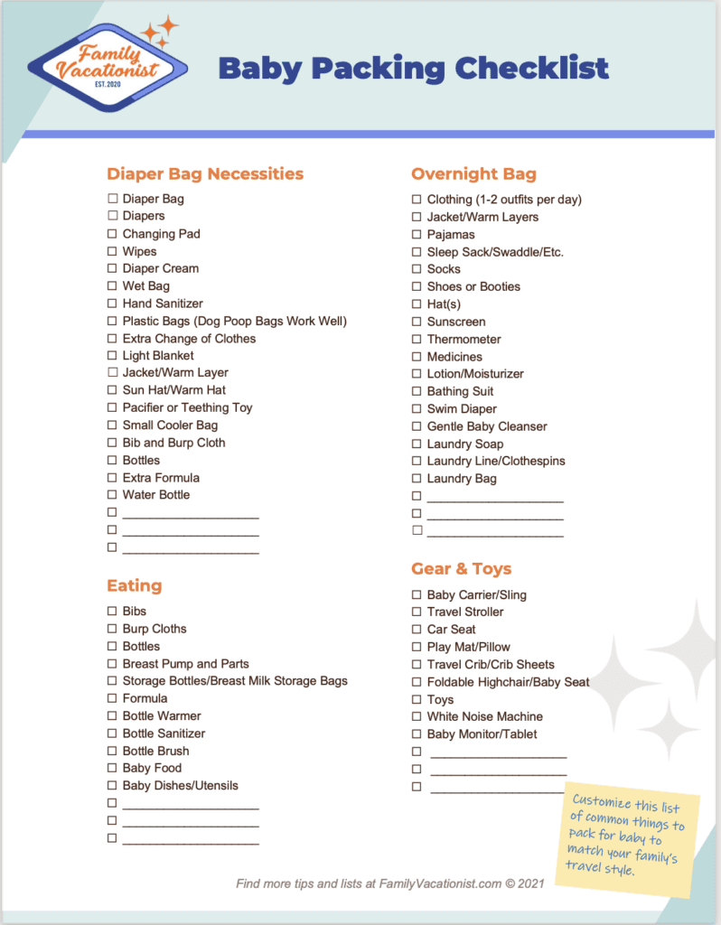 Baby Packing List for Travelers