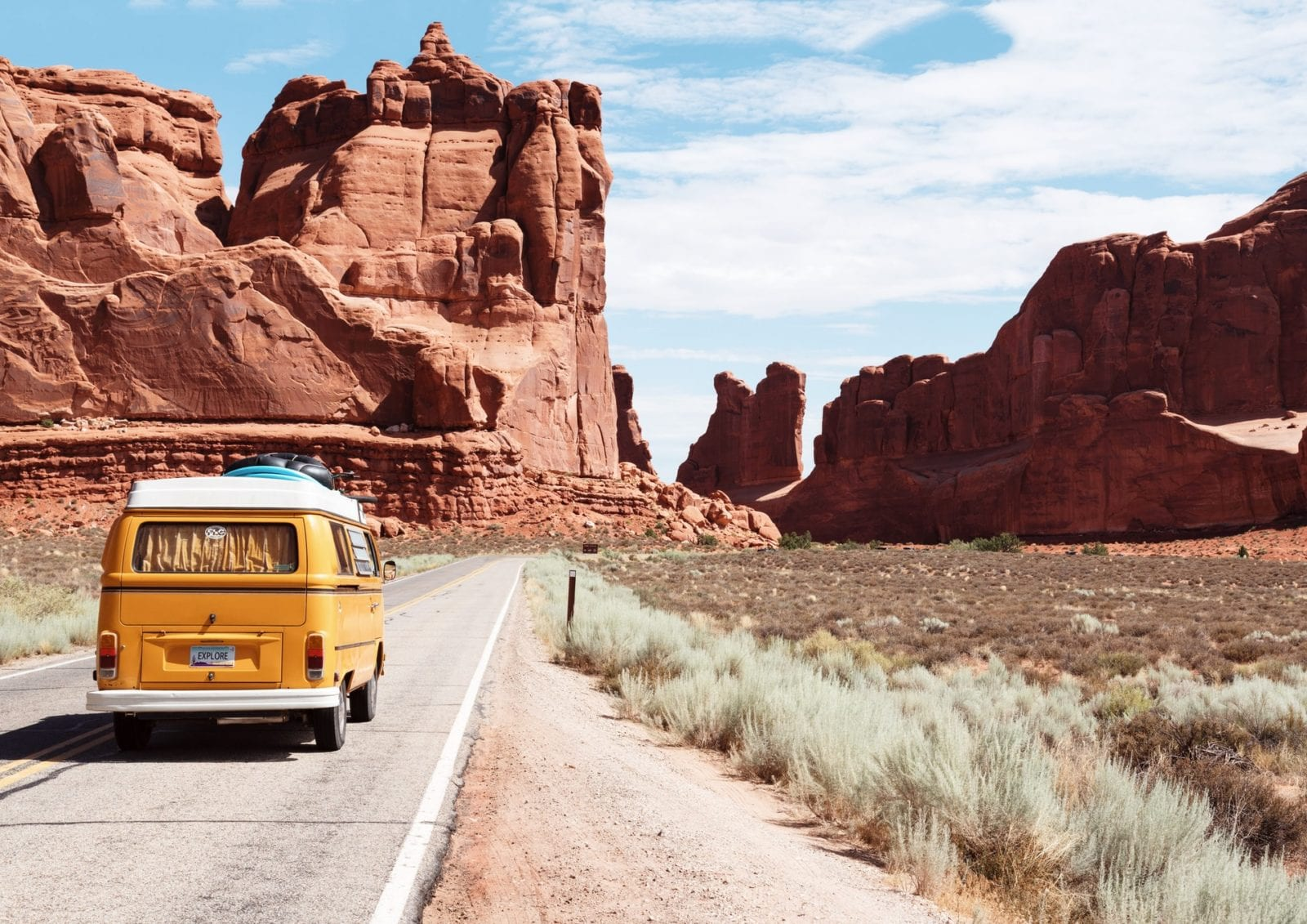 Volkswagon bus at Arches National Park