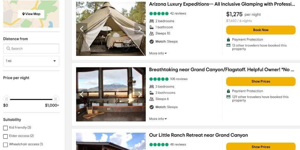 screenshot of TripAdvisor Vacation Rentals booking search results for Grand Canyon