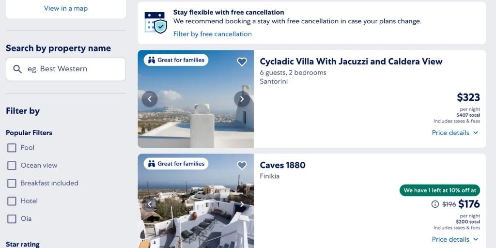 Screenshot of Expedia vacation rentals booking site