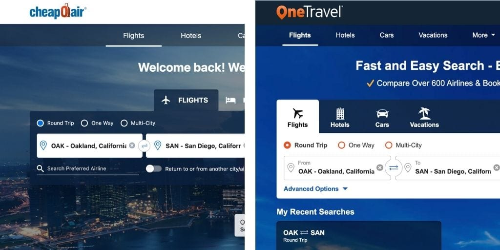 Screenshot of Cheapoair and OneTravel flight booking sites