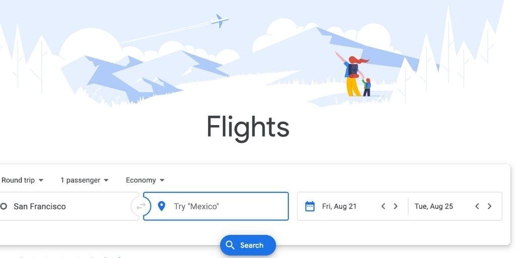 Screenshot of Google Flights
