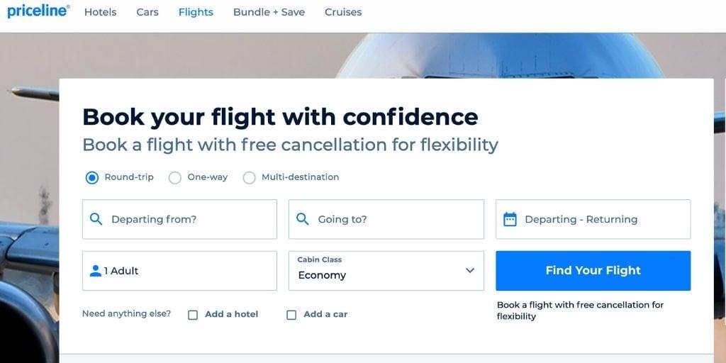 Screenshot of Priceline flight booking site