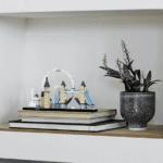LEGO Architecture London set assembled and sitting on a shelf