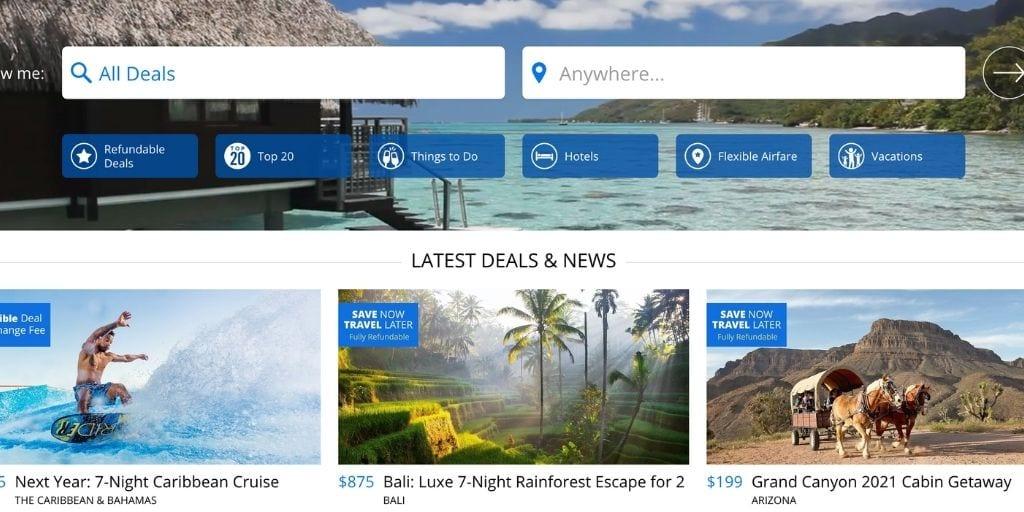 Screenshot of Travelzoo homepage