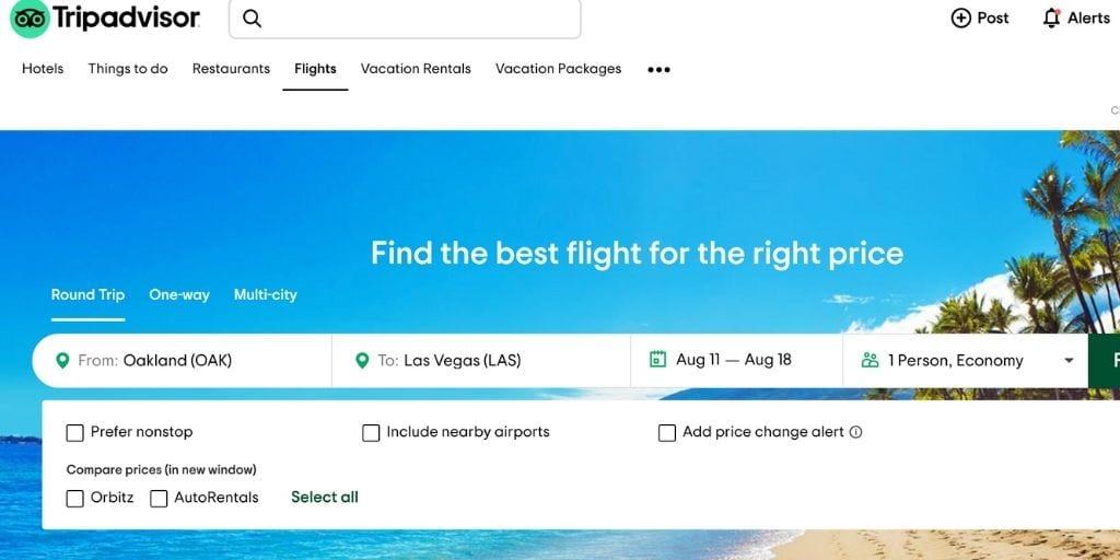 Screenshot of TripAdvisor flight booking site