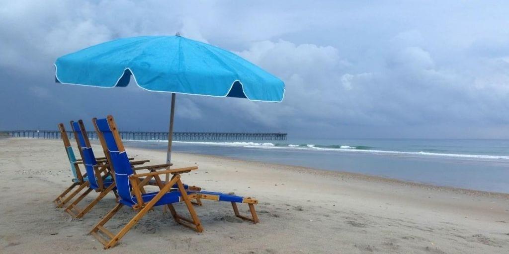 beach chairs and umbrella on great North Carolina family beach at Topsail, North Carolina