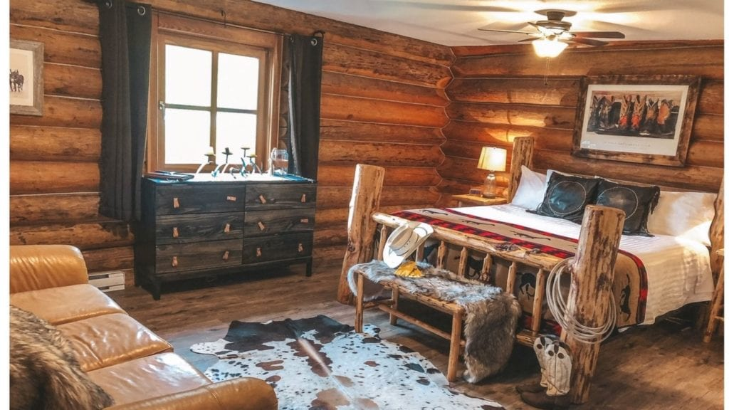 Three Bars Guest Ranch cabin interior; best dude ranches for families in the U.S. and Canada