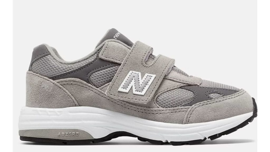 side view of gray New Balance 993 sneakers for kids