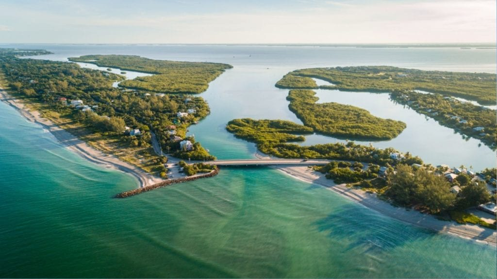 Aerial view of Sanibel Island and Captiva Island, Florida