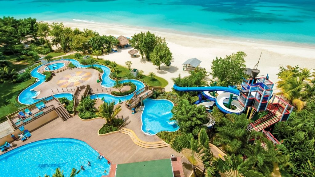 aerial view of waterpark and beach at Beaches Negril all-inclusive beach resort