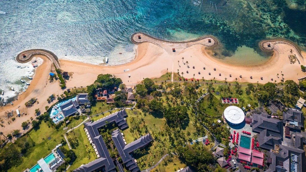 aerial view of resort and beach at Club Med Bali, one of the best all-inclusive beach resorts