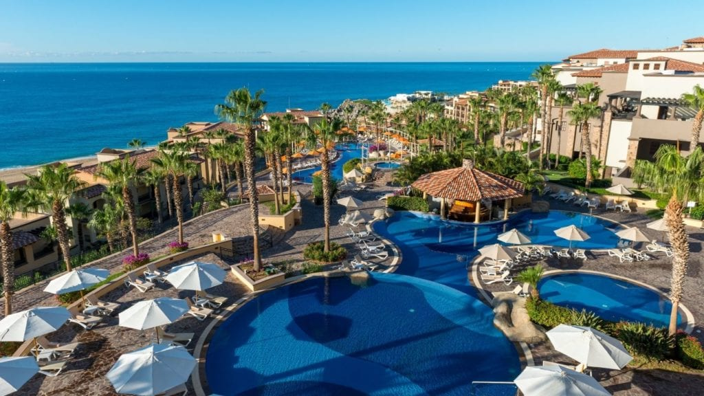 Pool and grounds at all-inclusive beach resort Pueblo Bonito Sunset Beach Resort Golf & Spa Resort