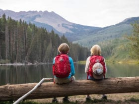 kids wearing kids backpacks sitting on a log overlooking a lake and forest