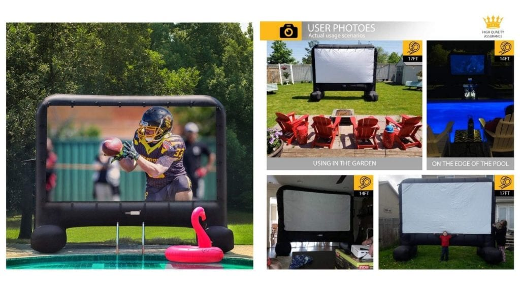 VIVOHOME Indoor-Outdoor Inflatable Blow-up Mega Movie Projector Screen