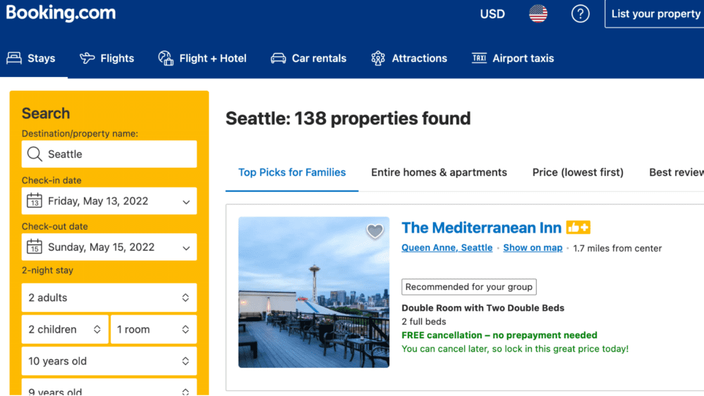 Booking.com hotel booking site search results page example
