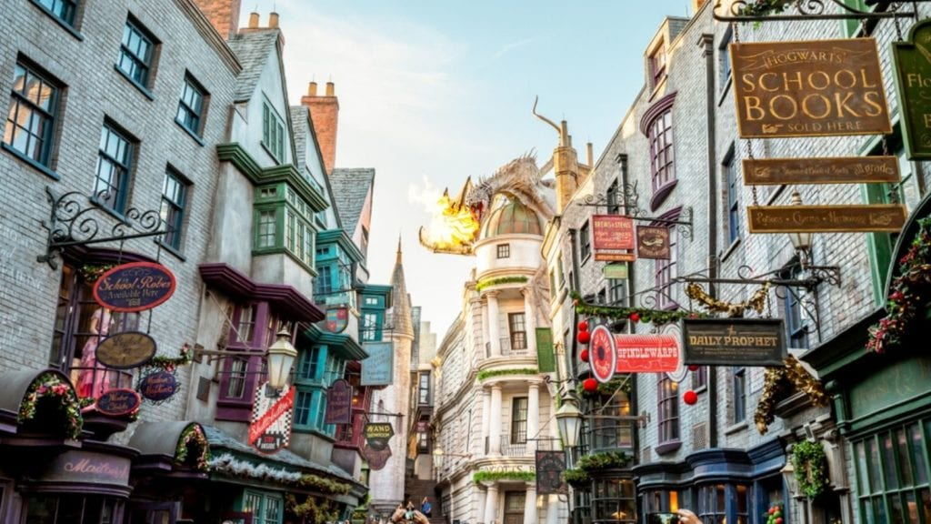 Diagon Alley and the Ukranian Ironbelly dragon at the Wizarding World of Harry Potter in Orlando (Photo: Shutterstock)