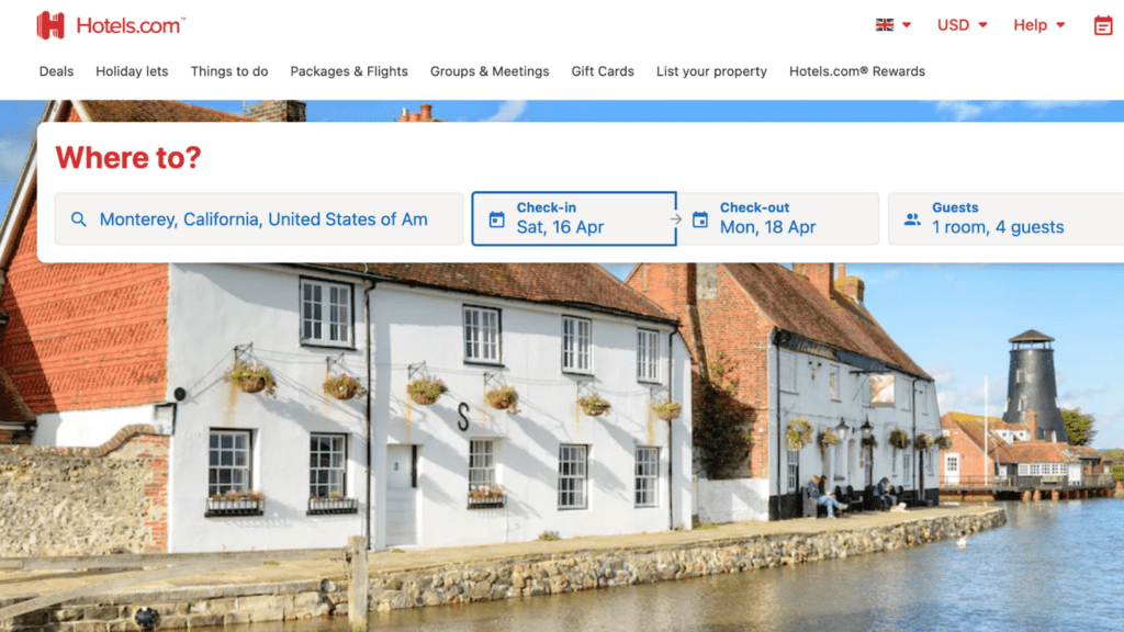 homepage of hotel booking site Hotels.com