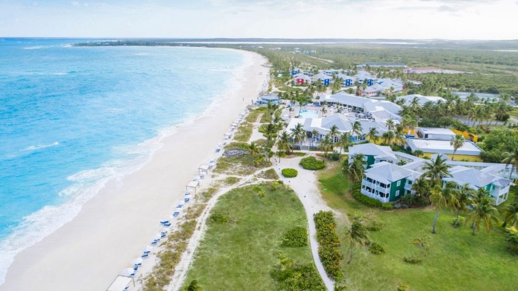 all inclusive Bahamas resort Club Med Columbus Isle, aerial view of resort, beach, and water
