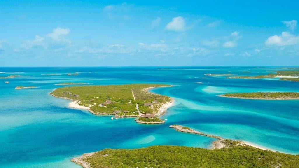 aerial view of Fowl Cay Resort all inclusive Bahamas resort