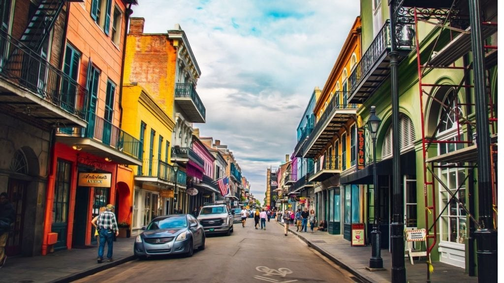 New Orleans in the French Quarter, a view down the street. New Orleans is recognized as one of the best vacation spots for couples