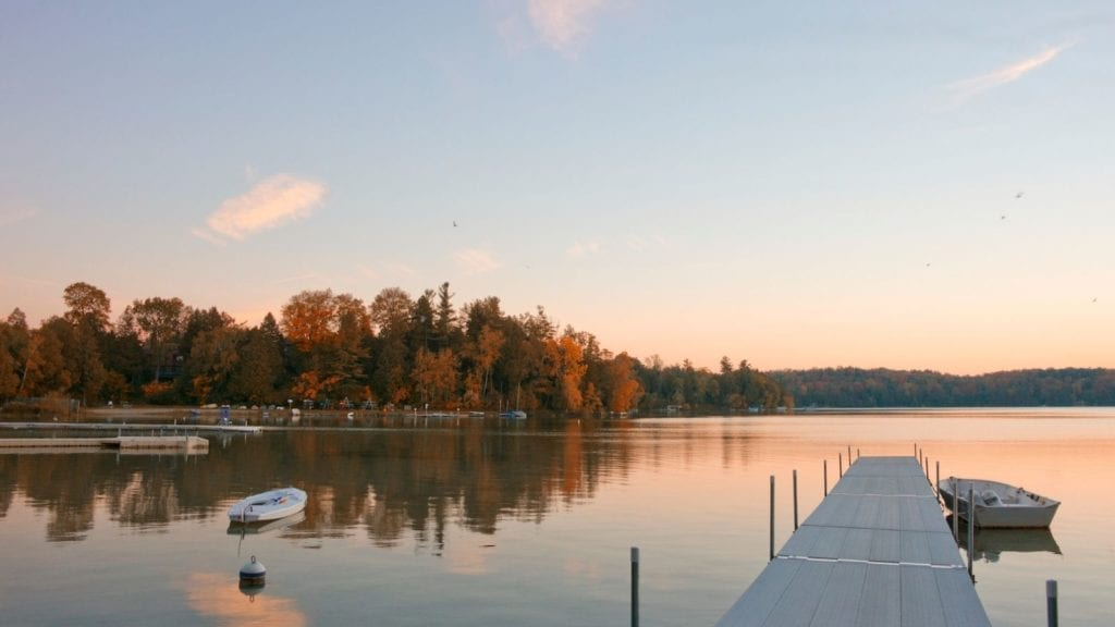 sunrise over Elkhart Lake, Wisconsin, one of the best vacation spots for couples