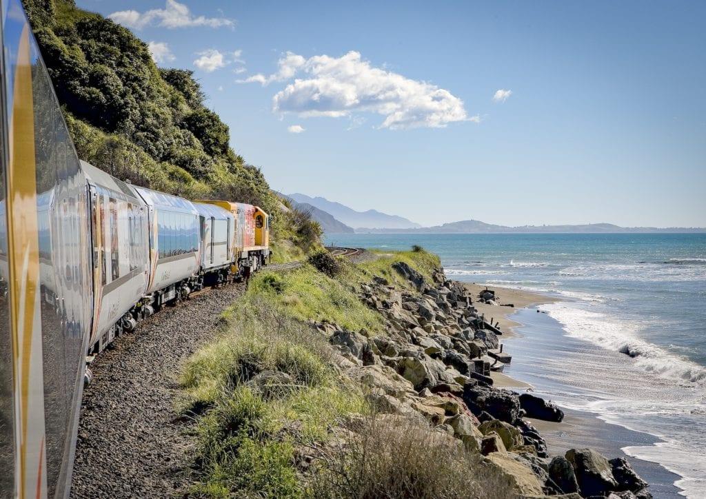 KiwiRail scenic train trip: Mountains and sea near Oaro