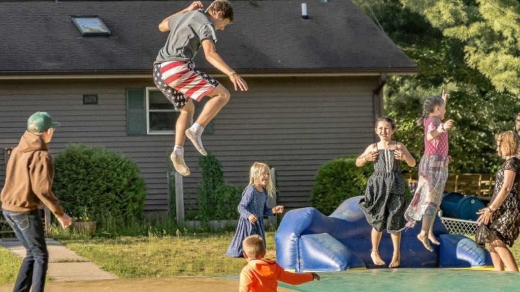 Jumping on a giant pillow at Pineland Camping Park (Photo: Pineland Camping Park)