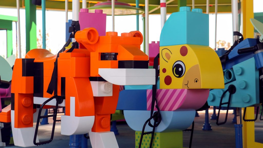 LEGOLAND New York Brick Party Carousel. LEGOLAND is an amusement park for kids that has plenty for toddlers to do