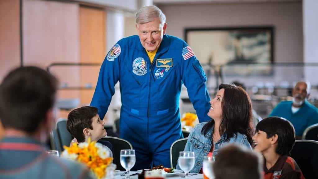 Families have the unique opportunity to share lunch with astronaut such as Jon McBride (Photo: Kennedy Space Center)