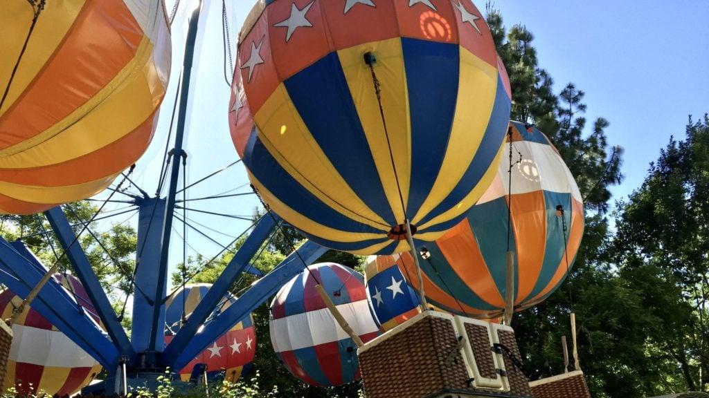 hot air balloon ride at Gilroy Gardens, a theme park for young children