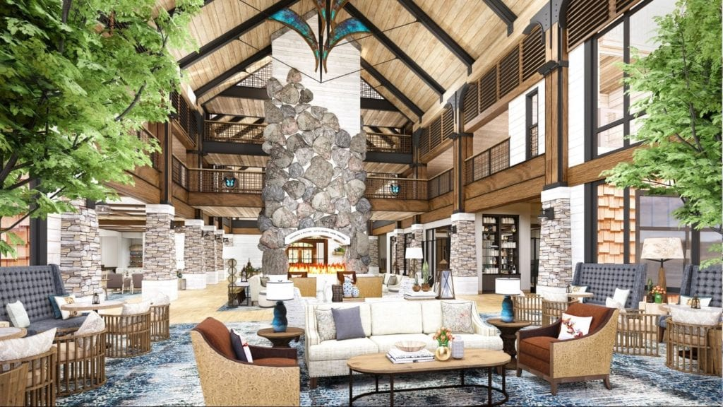Artist's rendering of the new HeartSong Lodge and Resort's lobby and fireplace (Photo: Dollywood)