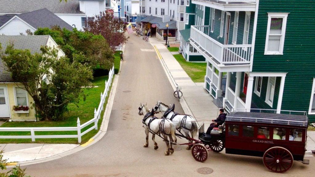 neighborhood near the wharf on Mackinac Island, Michigan