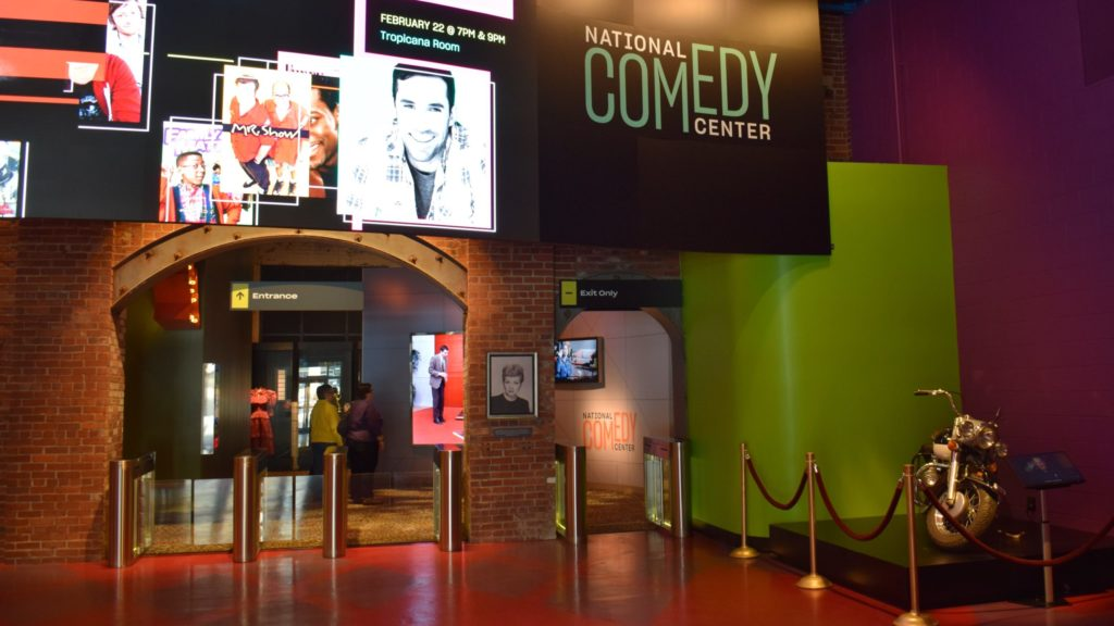 Entrance to the National Comedy Center, a New York family vacation destination