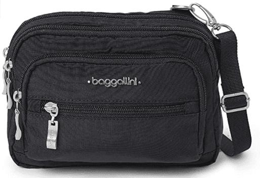 close-up of Baggallini Triple Zip Crossbody Bag