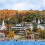 View of the town of Ephraim in Door County, Wisconsin, a perfect Midwest fall getaway