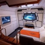 This mock-up of a starship cabin shows the accommodations guests will experience at the Star Wars hotel (Photo: David Roark)