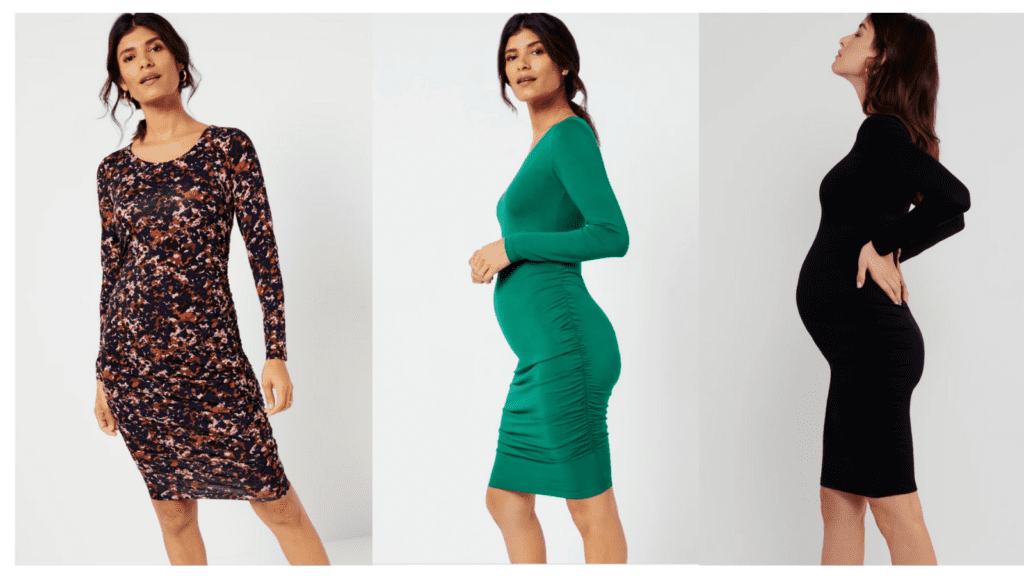 A Pea in the Pod Luxe Side Ruched Long Sleeve Maternity Dress